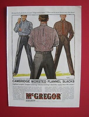 1957 McGregor Cambridge Worsted Flannel Slacks Color AD