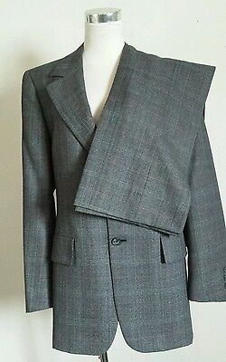"Vtg Gray Red Plaid Mens Wool Blend Suit 42R 34""x 30""Inseam *Hart Schaffner & Max"