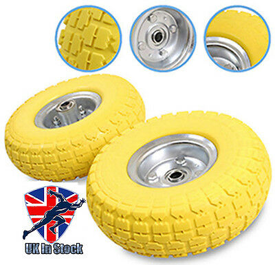 """2 x 10"""" Solid Rubber Tyre Wheel Replacement No More Flats Sack Truck Trolley Car"""
