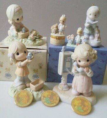Precious Moments - Lot of 3 Figurines, 1 Ornament, 1 Ring Box, 1 Pewter, 3 Coins