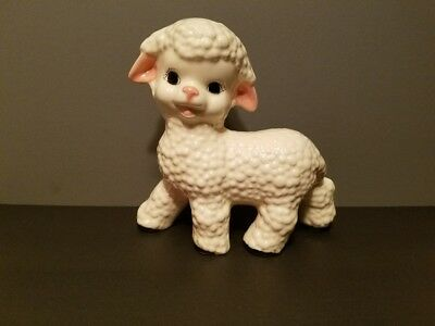 "6"" Ceramic White Lamb, Pink Ears, Black Eyes, Pink Nose, and Black On Feet"