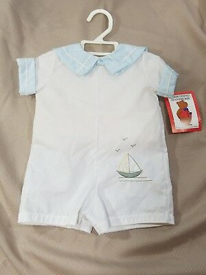 Vintage Baby Boy White Light Blue One Piece Sailor  Romper Outfit Size 0-3M NEW