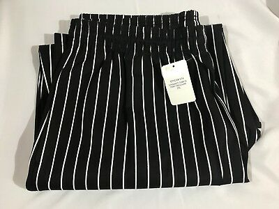 NWT Joseph Lawrence Men's 3 Pocket Chef Pants - Black with White Stripes - 2XL