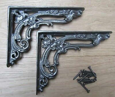 """Pair of 8"""" ANTIQUE IRON FLORAL cast iron shelf wall brackets vintage old style"""