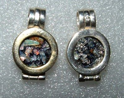 2 roman glass fragments with very lovely patina pendant set in silver