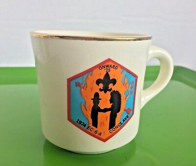 USA 1974 Conclave Onward '75 BOY SCOUTS OF AMERICA Mug Coffee Cup Shaking Hands