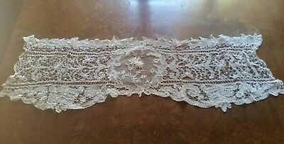Antique French Net Lace table runner Floral  Needlework Unusual Shape & Design