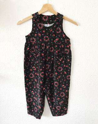 Vintage Kids Osh Kosh Classic 90s Cord Floral Ditsy Jumpsuit Dungarees 3-4 Y