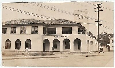 RARE Unique Real Photo - 1929 Oahu Railway Honolulu Hawaii OR&L Railroad Station