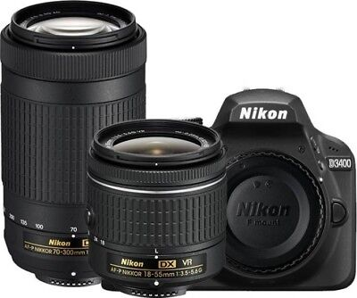 BRAND NEW Nikon D3400 DSLR Camera 24.2MP With 18-55mm and 70-300mm Lenses D3400