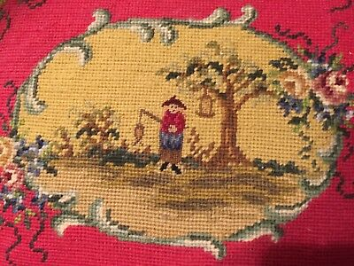 Vintage Oriental Hand Embroidered Pillow Fisherman Roses