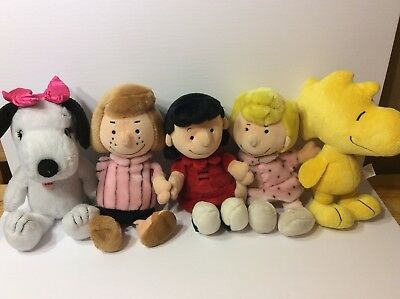 Peanuts Plush Lot- Peppermint Patty, Lucy, Sally, Woodstock, Belle
