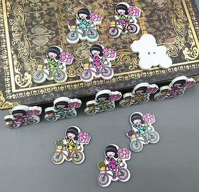 100PCS Wooden girl bicycle sewing Buttons scrapbooking Crafts Mixed color 26mm