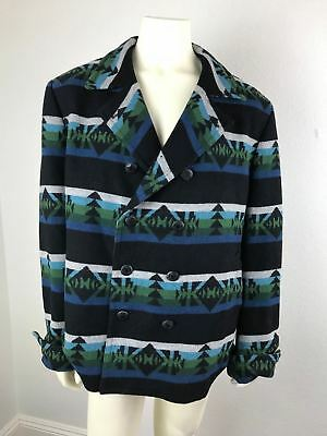 Tallia Sports Coat Blue Green Southwestern Jacket Native Print 42L