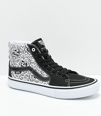 8.5 New Vans x Sketchy Tank Sk8-Hi Pro Reflective Black & White Skate Shoes x1