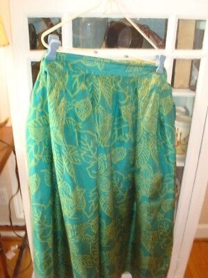 Vintage Teal Green and Olive Green Breckenridge II Silk Skirt sz 22W
