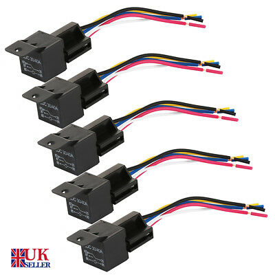 5/10X Car Truck DC 12V 30 40 AMP SPDT Relay Relays 5 Pin 5 Wires & Socket AU
