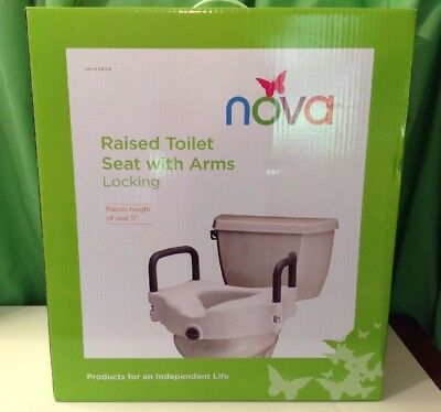 NOVA Medical Elderly Bathroom White Raised Height Toilet Seat with Arms, NEW