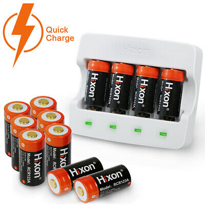 Rechargeable CR123A Arlo & Reolink Battery&Charger 3.7V 700mAh Hixon UL 12Pcs