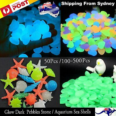 50-500Pcs Pebbles Stone Glow in the Dark Rocks Fish Tank Stones Garden Road Deco