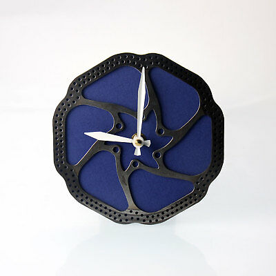 Handmade Blue Bicycle Disc Rotor Wall Clock Recycled Parts Unique Design Gift