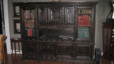 11 Piece HAND CARVED ITALIAN ENGLISH GOTHIC ANTIQUE DINING ROOM SET