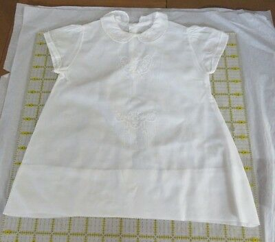 1940's Cotton Baby Gown With Embroidery and Peter Pan Collar.