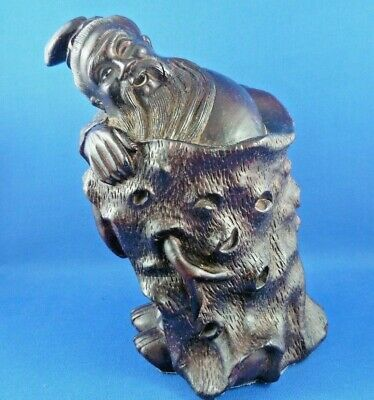 Rare Antique Chinese Rosewood Wood Carved Old Man Statue Sculpture