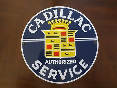 """Cadillac Authorized Service 11 3/4"""" Porcelain Enamel Sign Great Condition"""