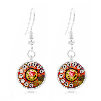 Phone Art Rotary Dial Photo Art Glass Cabochon 16mm Charm Earring Earring Hooks