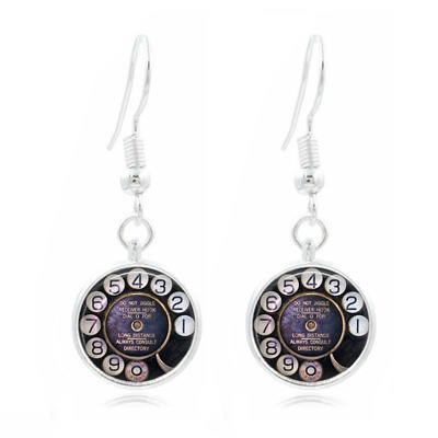 Phone Rotary Dial Photo Art Glass Cabochon 16mm Charm Earring Earring Hooks