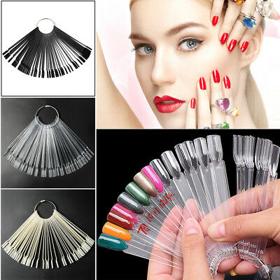 50X False Nail Polish Display Art Sticks Fan Wheel Tips Pop Practice Ring DIY