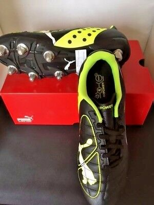 Puma Rugby Boots Black/white/fluro Yellow Synthetic/textile Size 9.5 Uk