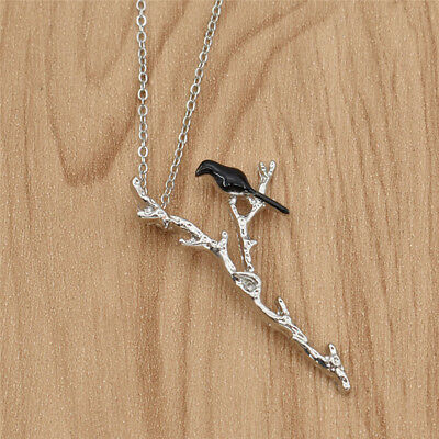 Women Statement Black Bird On Branch Pendant Necklace Charms Silver Chain Gift