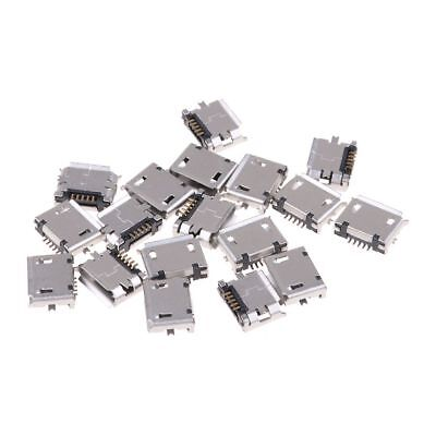 20X Female Micro USB Type B 5-Pin SMD Soldering Socket 180°PCB Jack Connector