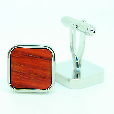 Brown Silver Wood Effect Square Wedding Cufflinks with Stones