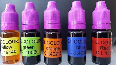 Soap dye 5x10ml soap colour perfect for melt and pour ,shower gels and bath bomb