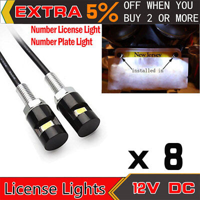 8x White Car License Plate Screw Bolt Light Bulbs Lamp LED SMD Motorcycle 12V DC