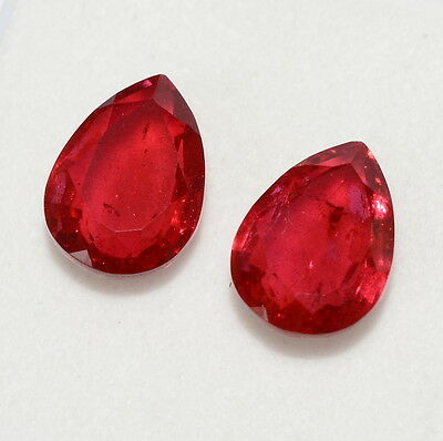 11.71 Cts Ruby Color Doublet  Pear Cut Pair 14x10 MM Lustrous Red Loose Gemstone