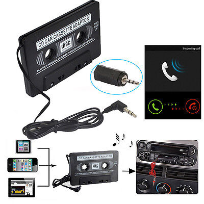 New Black Car Cassette Tape Audio 3.5mm AUX Adapter for MP3 MP4 CD IPod iPhone.#