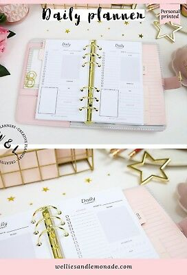 Daily Planner Personal Size, Productivity Planner, Refill Inserts fits Filofax