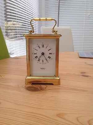 English Carriage Clock c1960 Vintage Brass 8 Day Movement 11 Jewel Incabloc Mint