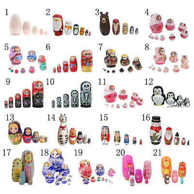 Various Traditional Wooden Russian Nesting Dolls Matryoshka Babushka Toy 5/10pcs