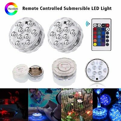 Submersible 10 LEDs Waterproof Light RGB Lamp + Remote for Vase Wedding Party UK