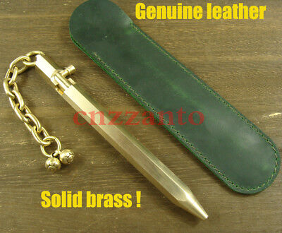 Handmade Solid brass Bolt Action ball point pen + Genuine Leather sheath H502