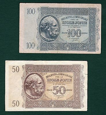Greece Greek Lot of two 100, 50 Drachmai ISOLE IONIE 1941Ionian VERY NICE NOTES