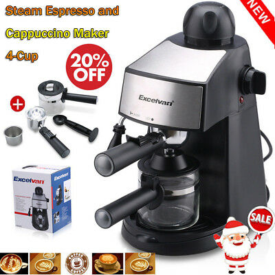 Steam Coffee Maker Espresso Cappuccino Latte Maker Machine 4-Cup 800W 3.5 Bar UK