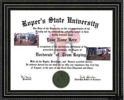 Team Roping Lover's Doctorate Diploma / Degree Custom made & Designed for you