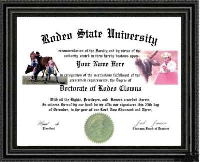 Rodeo Clown Lover's Doctorate Diploma / Degree Custom made & Designed for you