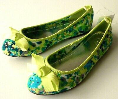 GAP Kids Girl TEAL LIME Bow Floral Print Ballet Flats Pumps Shoes UK10-4 £19.95